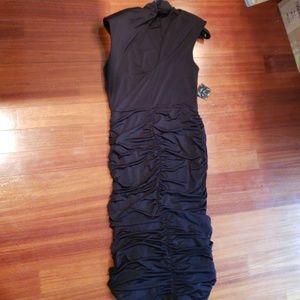 Nasty Gal flattering black ruched midi dress. XL